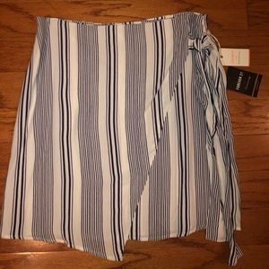 Wrap Front Navy and White Skirt